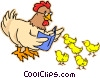 Vector Clip Art graphic  of a Mother hen with chicks