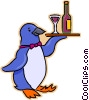 Vector Clip Art image  of a penguin serving a tray of