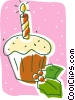 Vector Clip Art image  of a Christmas cup cake