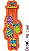 Vector Clip Art image  of a Easter eggs on string