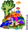 Vector Clipart image  of a hiking