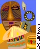 African masks Vector Clip Art graphic