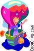 balloon ride, hot air Vector Clip Art image