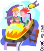 roller coaster, amusement ride Vector Clipart illustration