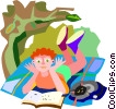 Boy reading a book with his cat Vector Clipart illustration