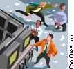 Vector Clip Art graphic  of a Stock market scene