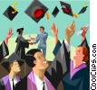 Vector Clipart graphic  of a students throwing hats in the air