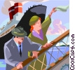 Couple boarding ship Vector Clip Art picture