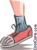 Vector Clipart illustration  of a child's lower leg with running