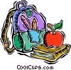 kids nap sack, books, apple for teacher Vector Clipart illustration
