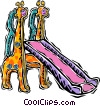 slide, with giraffes Vector Clipart image
