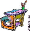 child's homework desk Vector Clip Art picture