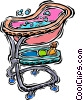 Vector Clip Art image  of a portable baby tub with toys
