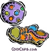 kids soccer ball, shoe Vector Clip Art image