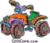 Vector Clip Art graphic  of a child's 4-wheel drive bike