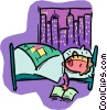 Vector Clip Art picture  of a person sleeping in bed