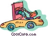 Vector Clip Art graphic  of a person at drive through bank