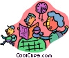family at breakfast table Vector Clipart picture