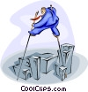 Vector Clip Art image  of a walking on stilts