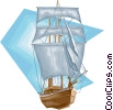 Vector Clipart image  of a Tall ship