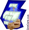 ship, tall ship, sailing Vector Clipart picture