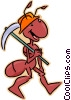 ant with pick axe Vector Clipart picture