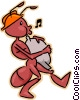 Vector Clipart graphic  of an ant carrying sack