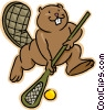 Vector Clip Art image  of a beaver playing lacrosse