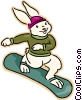 Vector Clip Art graphic  of a rabbit snowboarding