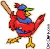 Vector Clip Art image  of a red cardinal playing baseball