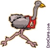ostrich running race Vector Clipart graphic