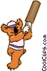 Vector Clip Art image  of a Kuala bear playing cricket