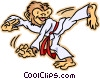 monkey practicing karate Vector Clipart illustration