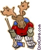 Vector Clip Art graphic  of a moose playing goalie