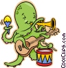 Octopus playing guitar, drums, trumpet Vector Clipart image