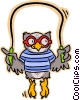 Vector Clipart picture  of a owl skipping rope
