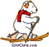 polar bear cross country skiing Vector Clipart graphic
