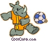 Vector Clipart graphic  of a rhinoceros playing soccer
