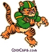 Vector Clip Art picture  of a Tiger playing football