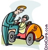 race car, reporter Vector Clipart picture