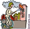 burning house, fire, fire fighter Vector Clipart illustration