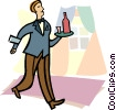 waitress, wine Vector Clipart graphic