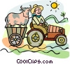 farmer, cow Vector Clipart illustration