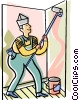 Vector Clip Art graphic  of a painter