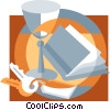 wine glass, keys, book Vector Clipart picture