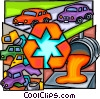 Vector Clipart picture  of a Recycle cars concept