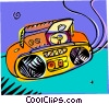 Vector Clip Art graphic  of a mini stereo system