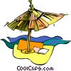 beach umbrella, beach Vector Clip Art image