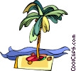 palm trees, desert island, island, coconuts Vector Clipart picture