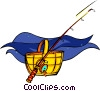fishing rod, fish, fish hamper Vector Clipart image